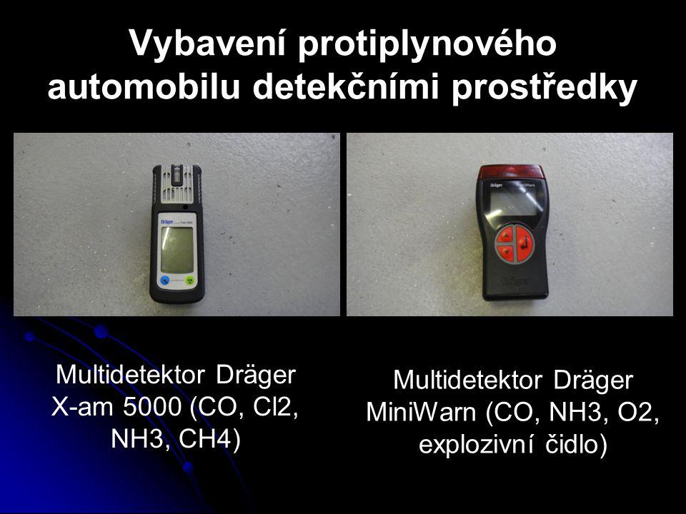 Vybavení protiplynového automobilu detekčními prostředky Multidetektor Dräger X-am 5000 (CO, Cl2, NH3, CH4) Multidetektor Dräger MiniWarn (CO, NH3, O2