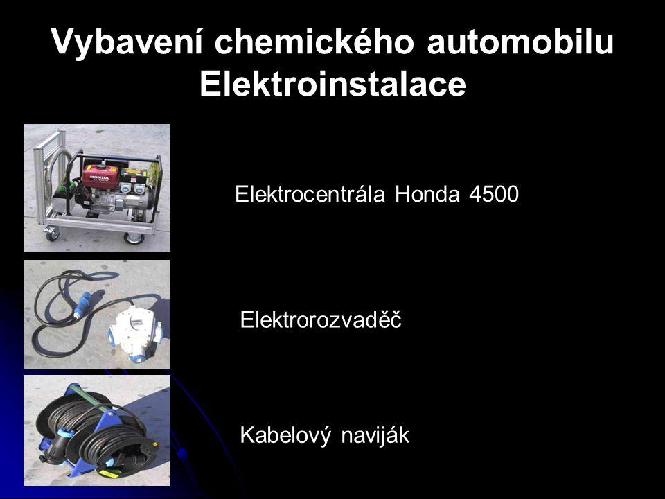 Vybavení chemického automobilu Elektroinstalace Elektrocentrála Honda 4500 Elektrorozvaděč Kabelový naviják