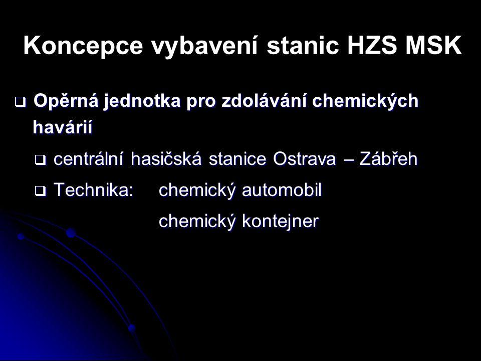 Koncepce vybavení stanic HZS MSK  Opěrná jednotka pro zdolávání chemických havárií  centrální hasičská stanice Ostrava – Zábřeh  Technika: chemický