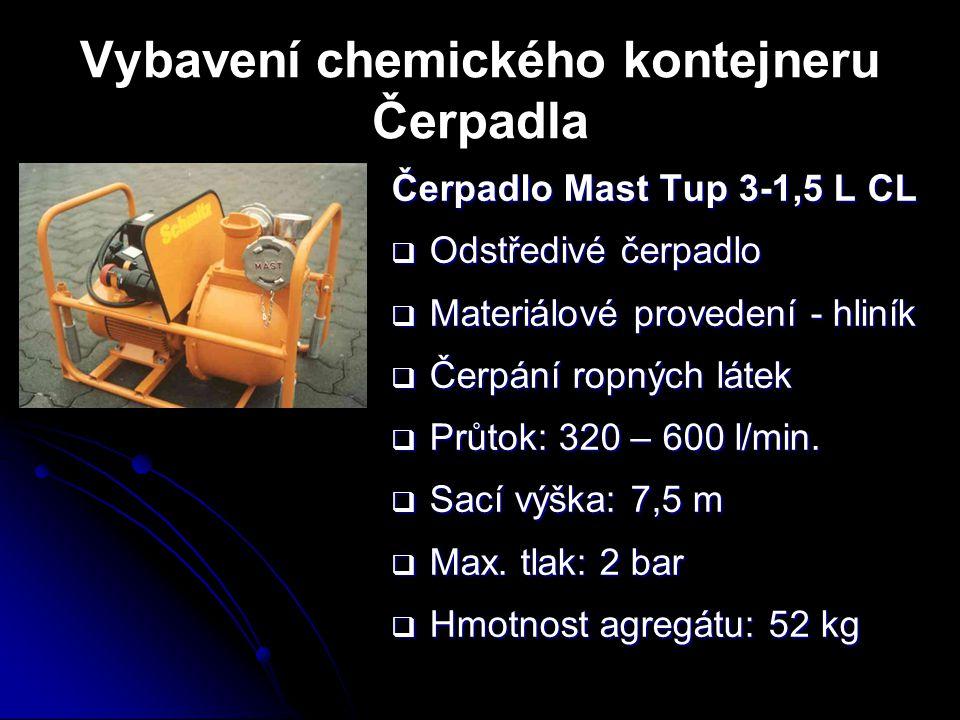 Vybavení chemického kontejneru Čerpadla Čerpadlo Mast Tup 3-1,5 L CL  Odstředivé čerpadlo  Materiálové provedení - hliník  Čerpání ropných látek 