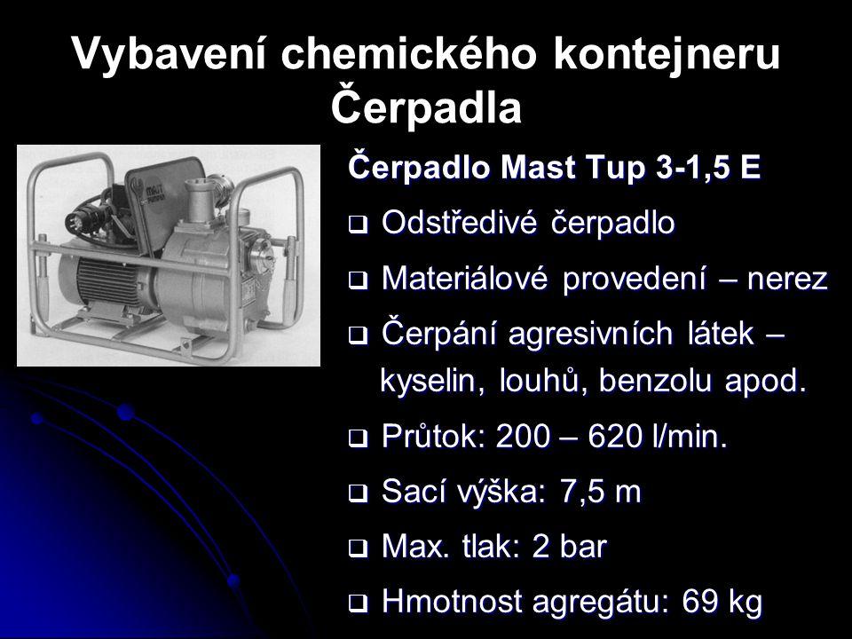 Vybavení chemického kontejneru Čerpadla Čerpadlo Mast Tup 3-1,5 E  Odstředivé čerpadlo  Materiálové provedení – nerez  Čerpání agresivních látek –