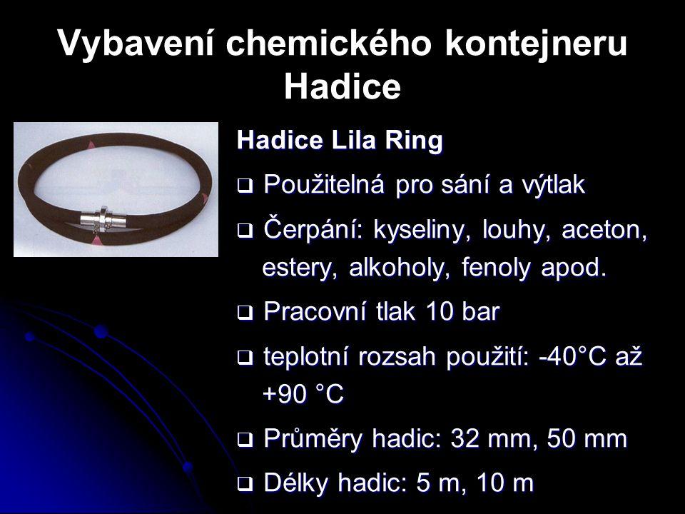 Vybavení chemického kontejneru Hadice Hadice Lila Ring  Použitelná pro sání a výtlak  Čerpání: kyseliny, louhy, aceton, estery, alkoholy, fenoly apo