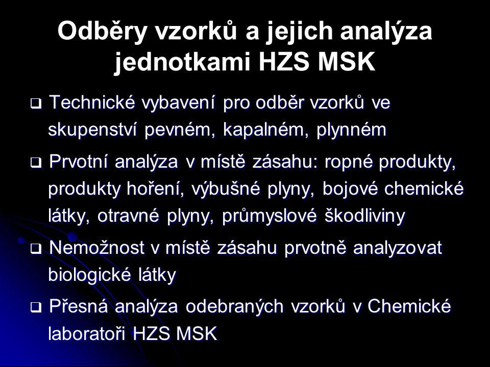 Odběry vzorků a jejich analýza jednotkami HZS MSK  Technické vybavení pro odběr vzorků ve skupenství pevném, kapalném, plynném  Prvotní analýza v mí