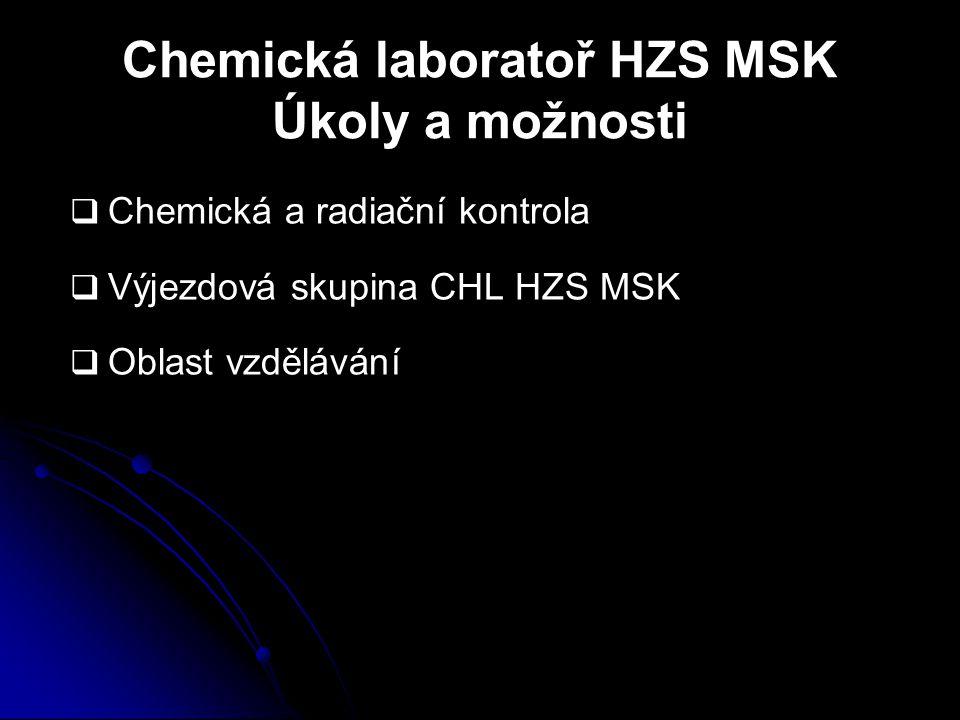 Chemická laboratoř HZS MSK Úkoly a možnosti   Chemická a radiační kontrola   Výjezdová skupina CHL HZS MSK   Oblast vzdělávání