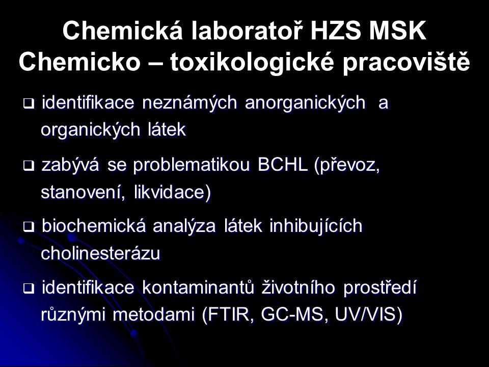 Chemická laboratoř HZS MSK Chemicko – toxikologické pracoviště  identifikace neznámých anorganických a organických látek  zabývá se problematikou BC
