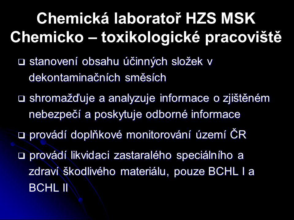 Chemická laboratoř HZS MSK Chemicko – toxikologické pracoviště  stanovení obsahu účinných složek v dekontaminačních směsích  shromažďuje a analyzuje