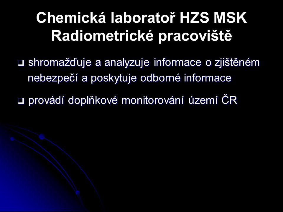 Chemická laboratoř HZS MSK Radiometrické pracoviště  shromažďuje a analyzuje informace o zjištěném nebezpečí a poskytuje odborné informace  provádí