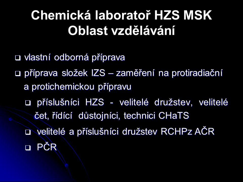 Chemická laboratoř HZS MSK Oblast vzdělávání  vlastní odborná příprava  příprava složek IZS – zaměření na protiradiační a protichemickou přípravu 