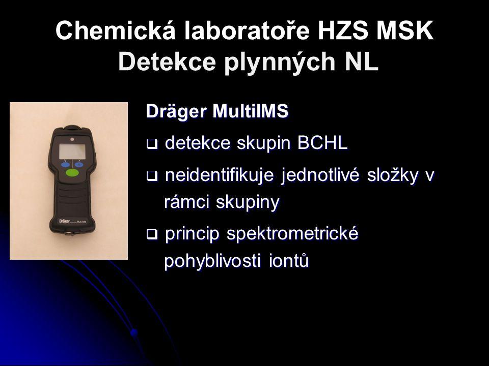 Chemická laboratoře HZS MSK Detekce plynných NL Dräger MultiIMS  detekce skupin BCHL  neidentifikuje jednotlivé složky v rámci skupiny  princip spe