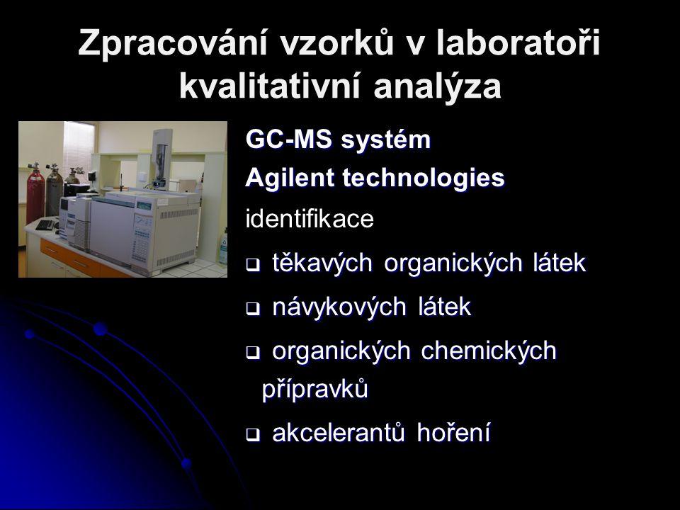 Zpracování vzorků v laboratoři kvalitativní analýza GC-MS systém Agilent technologies identifikace  těkavých organických látek  návykových látek  o
