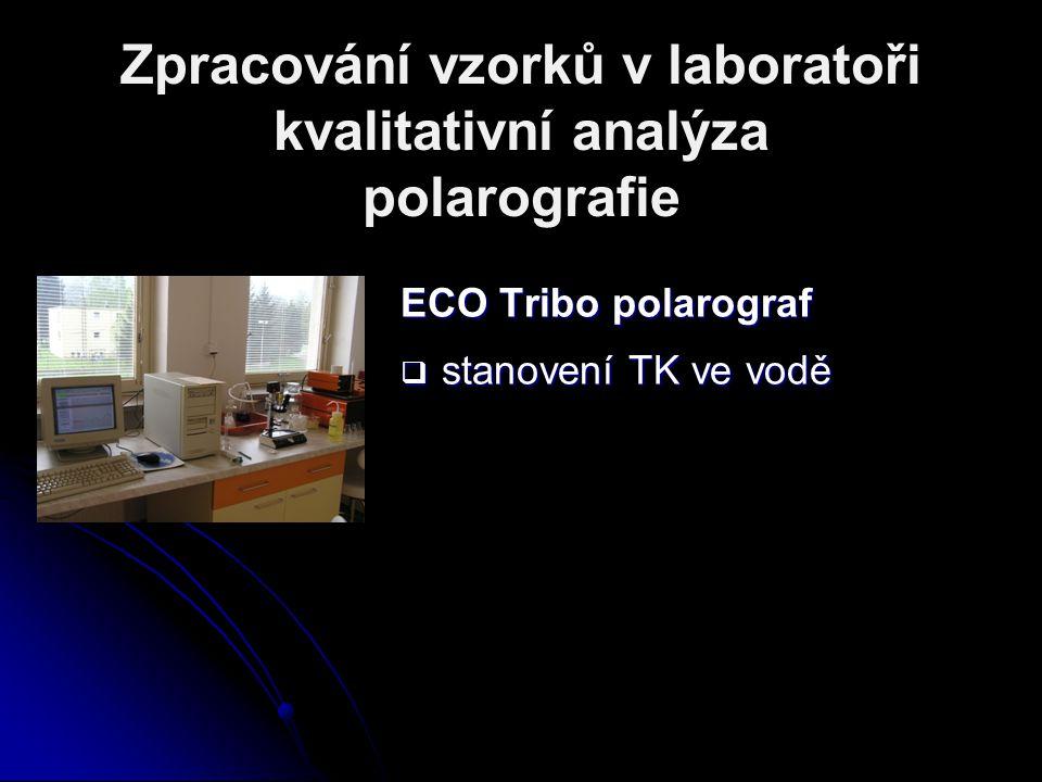 Zpracování vzorků v laboratoři kvalitativní analýza polarografie ECO Tribo polarograf  stanovení TK ve vodě