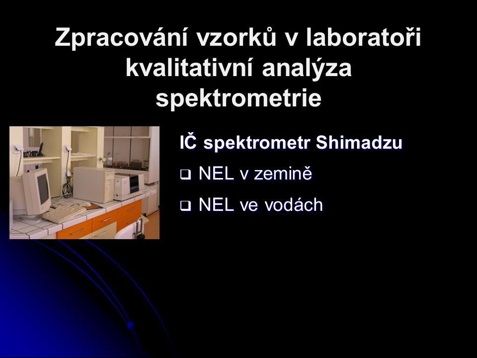 Zpracování vzorků v laboratoři kvalitativní analýza spektrometrie IČ spektrometr Shimadzu  NEL v zemině  NEL ve vodách