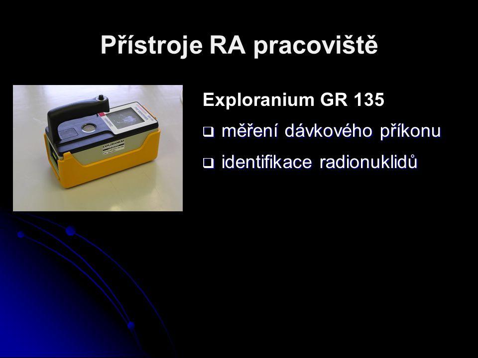 Přístroje RA pracoviště Exploranium GR 135  měření dávkového příkonu  identifikace radionuklidů