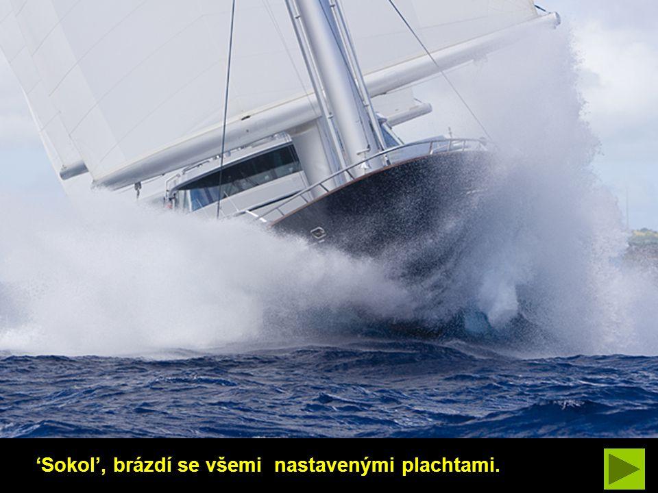 'Malteský Sokol', se řítí vpřed pod plnými plachtami