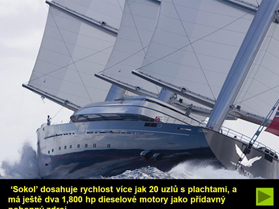 'Maltézský Sokol' je druhá-nejdelší soukromá-vlastní plachetní jachta na světě, má až 289 ft celkové délky.