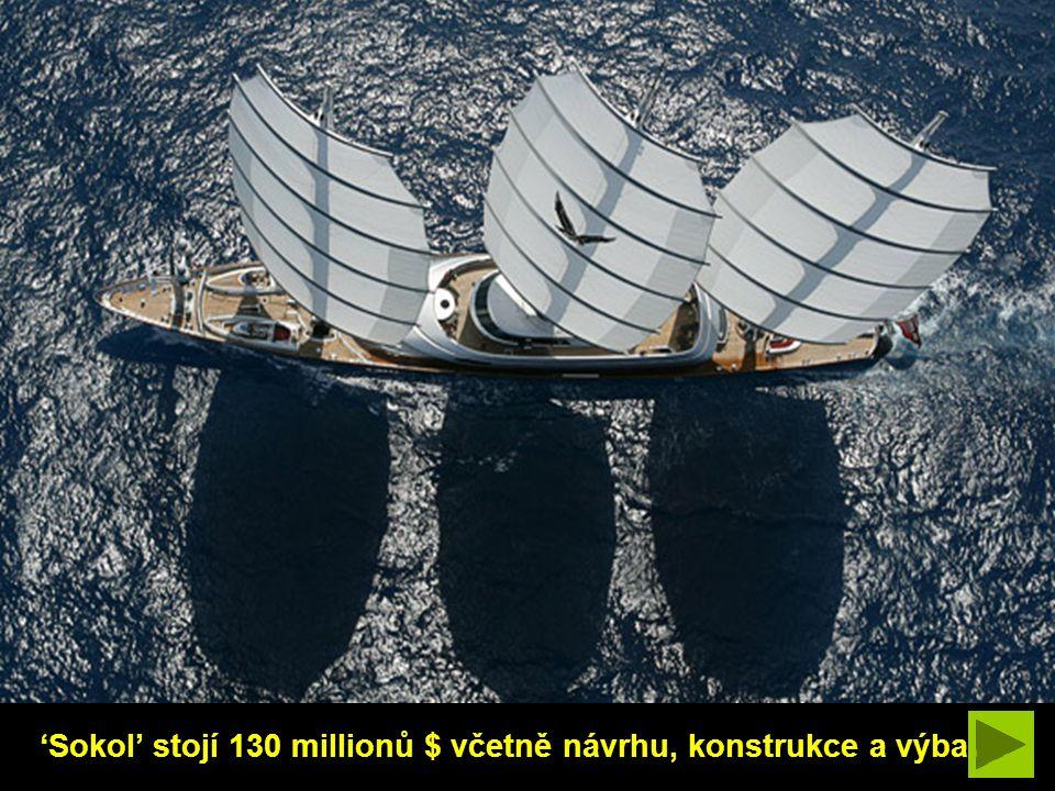'Sokol' stojí 130 millionů $ včetně návrhu, konstrukce a výbavy.