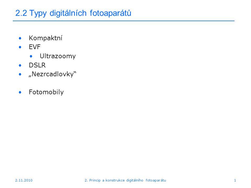 """2.11.20102. Princip a konstrukce digitálního fotoaparátu1 2.2 Typy digitálních fotoaparátů Kompaktní EVF Ultrazoomy DSLR """"Nezrcadlovky"""" Fotomobily"""