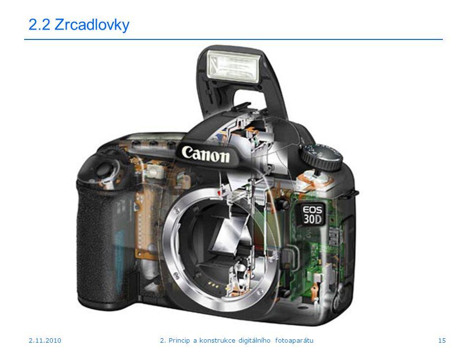 2.11.20102. Princip a konstrukce digitálního fotoaparátu15 2.2 Zrcadlovky