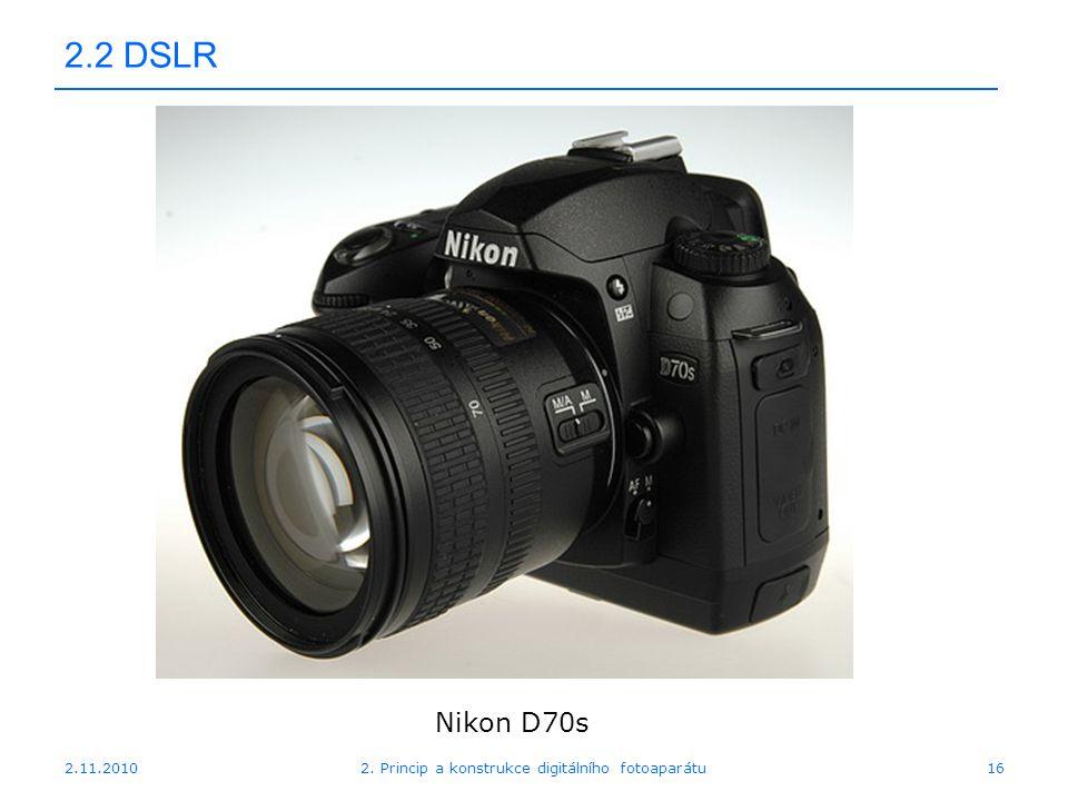 2.11.20102. Princip a konstrukce digitálního fotoaparátu16 2.2 DSLR Nikon D70s