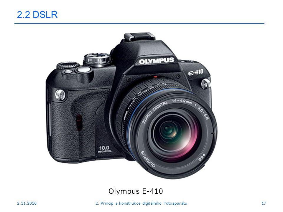 2.11.20102. Princip a konstrukce digitálního fotoaparátu17 2.2 DSLR Olympus E-410