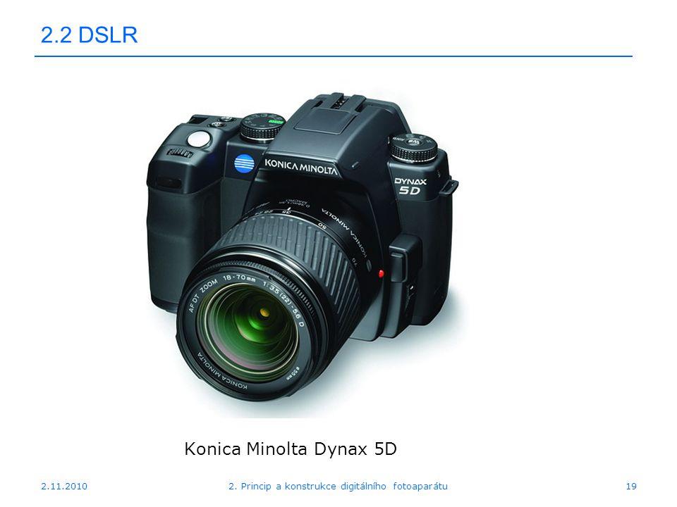 2.11.20102. Princip a konstrukce digitálního fotoaparátu19 2.2 DSLR Konica Minolta Dynax 5D