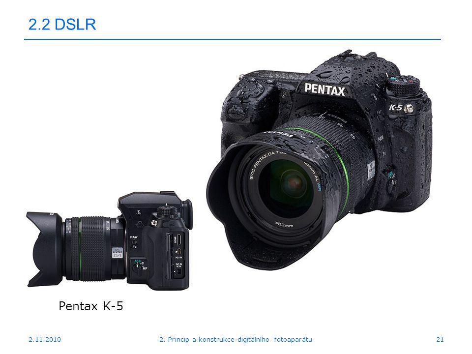 2.11.20102. Princip a konstrukce digitálního fotoaparátu21 2.2 DSLR Pentax K-5