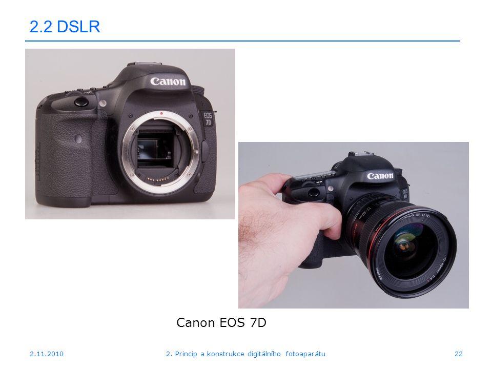 2.11.20102. Princip a konstrukce digitálního fotoaparátu22 2.2 DSLR Canon EOS 7D