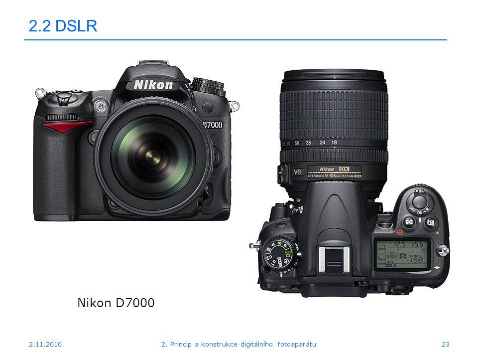 2.11.20102. Princip a konstrukce digitálního fotoaparátu23 2.2 DSLR Nikon D7000