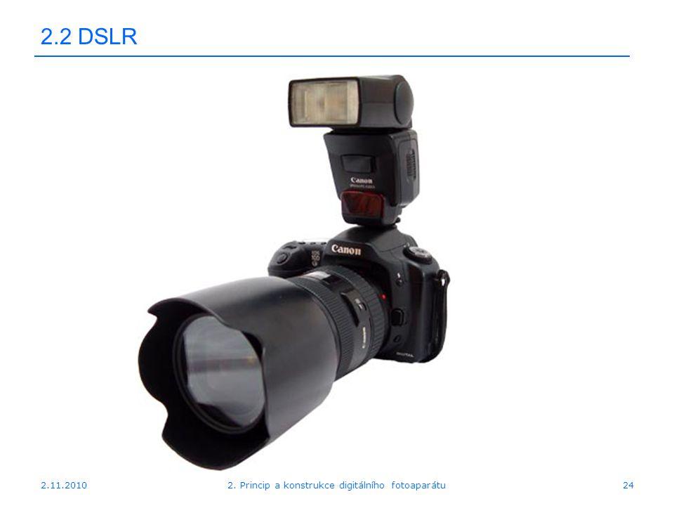 2.11.20102. Princip a konstrukce digitálního fotoaparátu24 2.2 DSLR