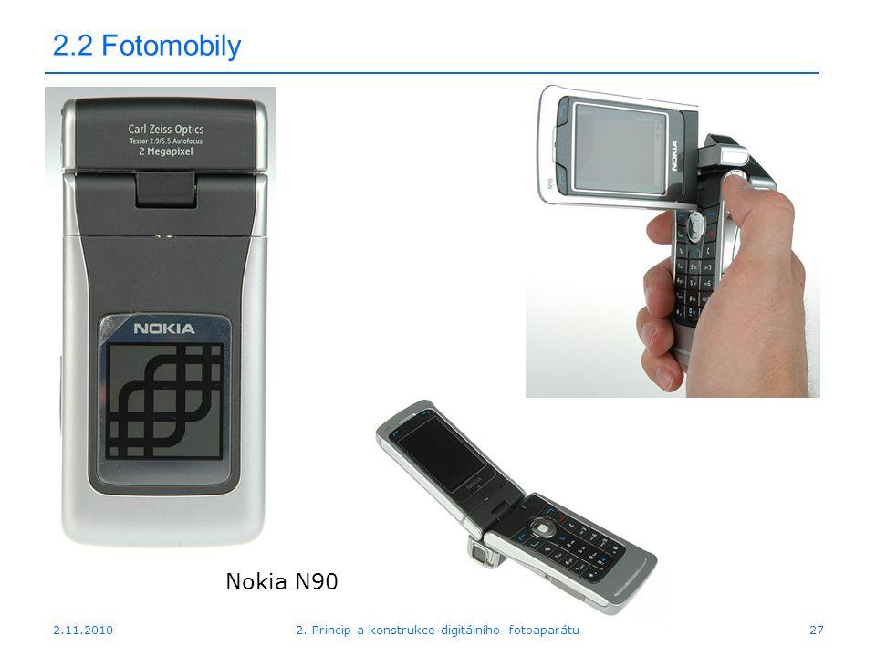 2.11.20102. Princip a konstrukce digitálního fotoaparátu27 2.2 Fotomobily Nokia N90
