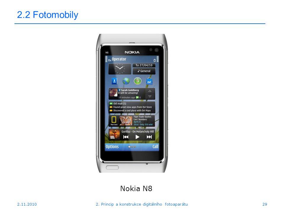 2.11.20102. Princip a konstrukce digitálního fotoaparátu29 2.2 Fotomobily Nokia N8