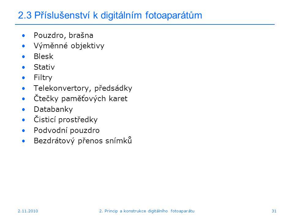 2.11.20102. Princip a konstrukce digitálního fotoaparátu31 2.3 Příslušenství k digitálním fotoaparátům Pouzdro, brašna Výměnné objektivy Blesk Stativ