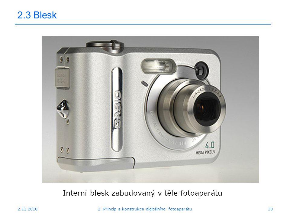 2.11.20102. Princip a konstrukce digitálního fotoaparátu33 2.3 Blesk Interní blesk zabudovaný v těle fotoaparátu