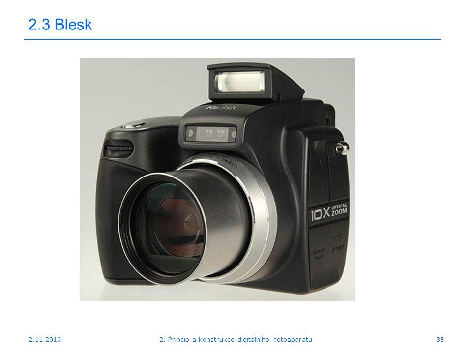 2.11.20102. Princip a konstrukce digitálního fotoaparátu35 2.3 Blesk