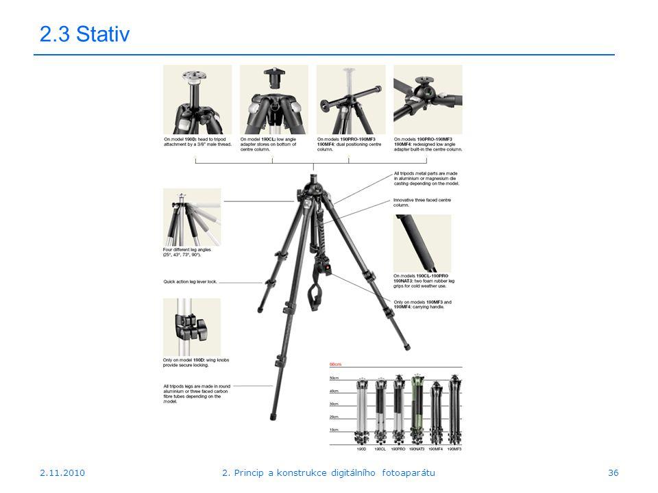 2.11.20102. Princip a konstrukce digitálního fotoaparátu36 2.3 Stativ