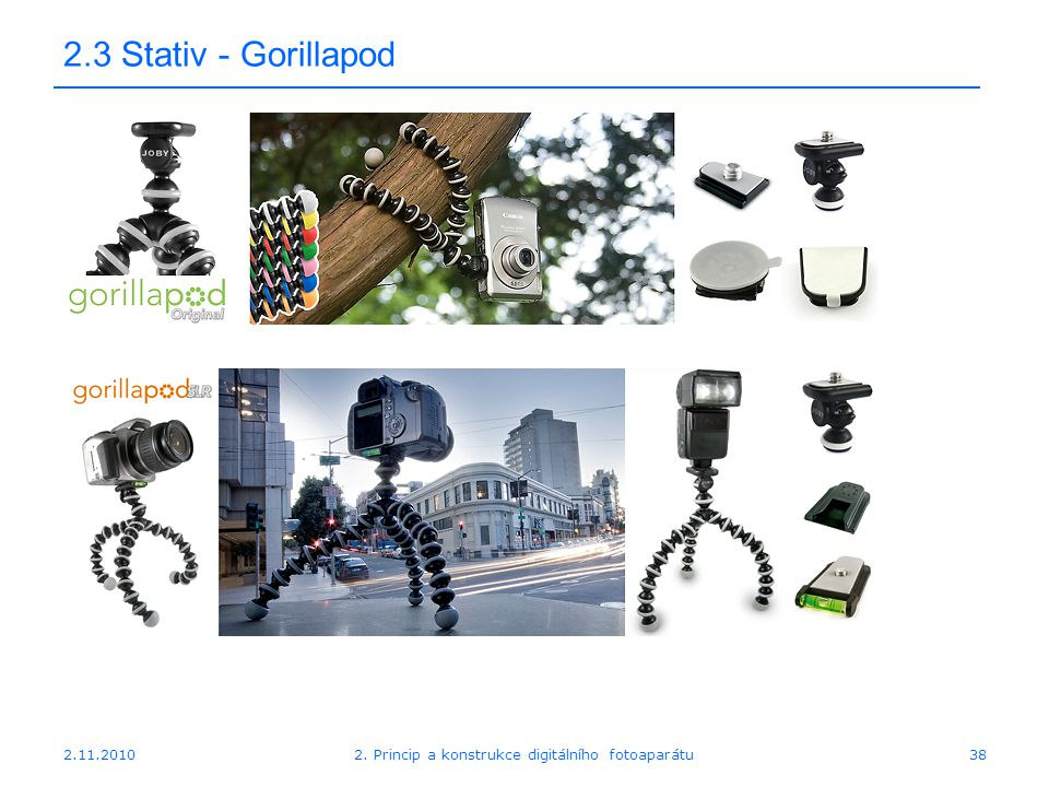 2.11.20102. Princip a konstrukce digitálního fotoaparátu38 2.3 Stativ - Gorillapod