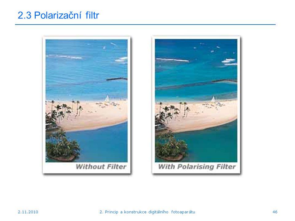 2.11.20102. Princip a konstrukce digitálního fotoaparátu46 2.3 Polarizační filtr