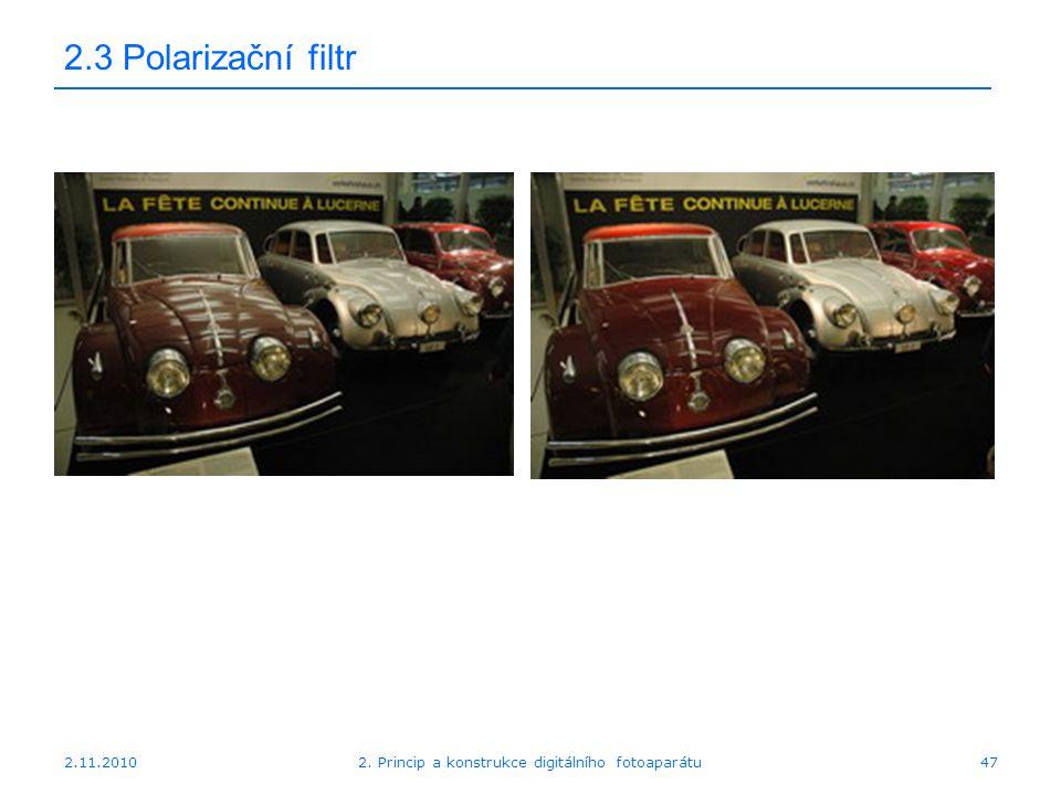 2.11.20102. Princip a konstrukce digitálního fotoaparátu47 2.3 Polarizační filtr