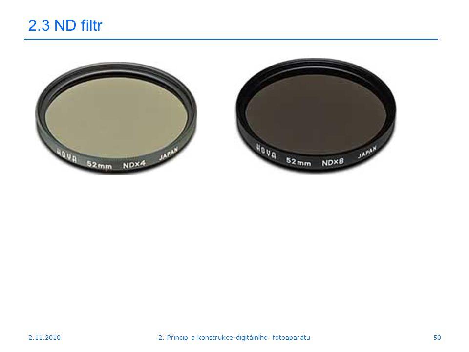 2.11.20102. Princip a konstrukce digitálního fotoaparátu50 2.3 ND filtr