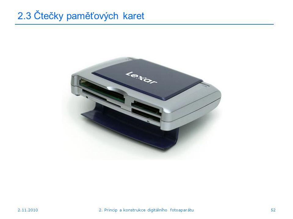 2.11.20102. Princip a konstrukce digitálního fotoaparátu52 2.3 Čtečky paměťových karet
