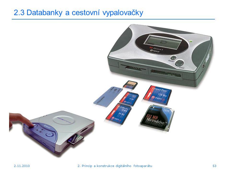 2.11.20102. Princip a konstrukce digitálního fotoaparátu53 2.3 Databanky a cestovní vypalovačky