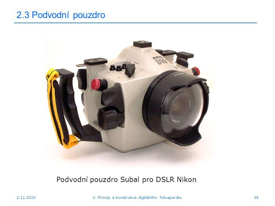 2.11.20102. Princip a konstrukce digitálního fotoaparátu56 2.3 Podvodní pouzdro Podvodní pouzdro Subal pro DSLR Nikon