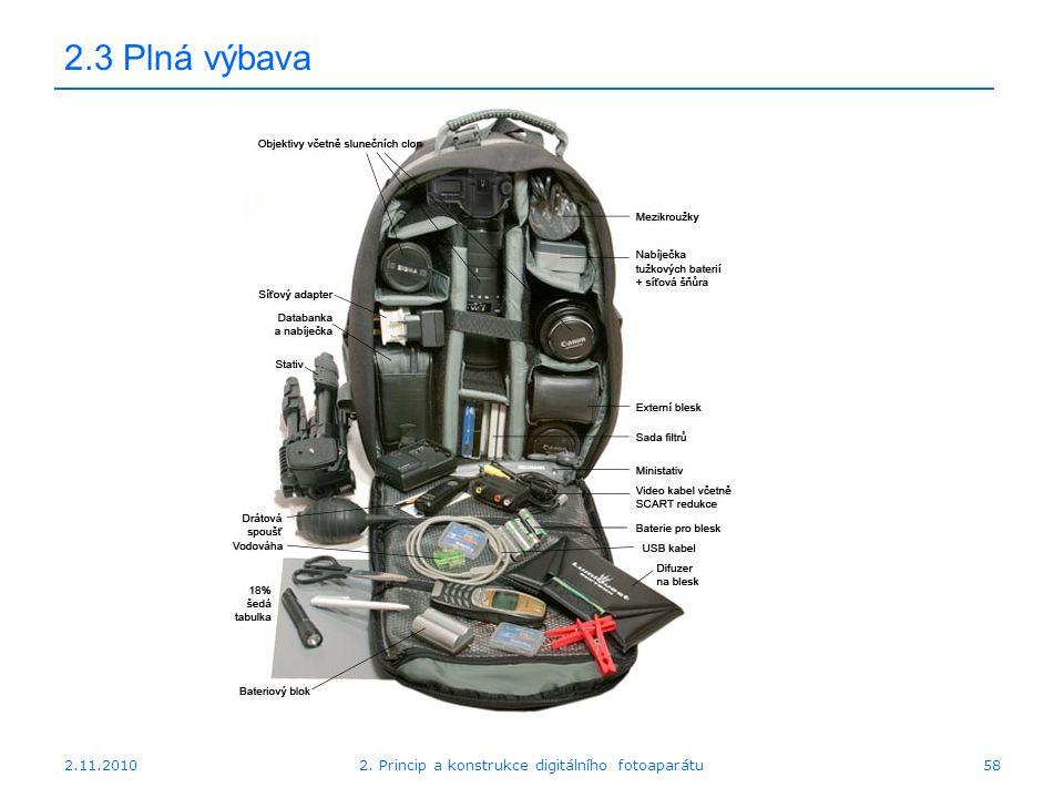 2.11.20102. Princip a konstrukce digitálního fotoaparátu58 2.3 Plná výbava