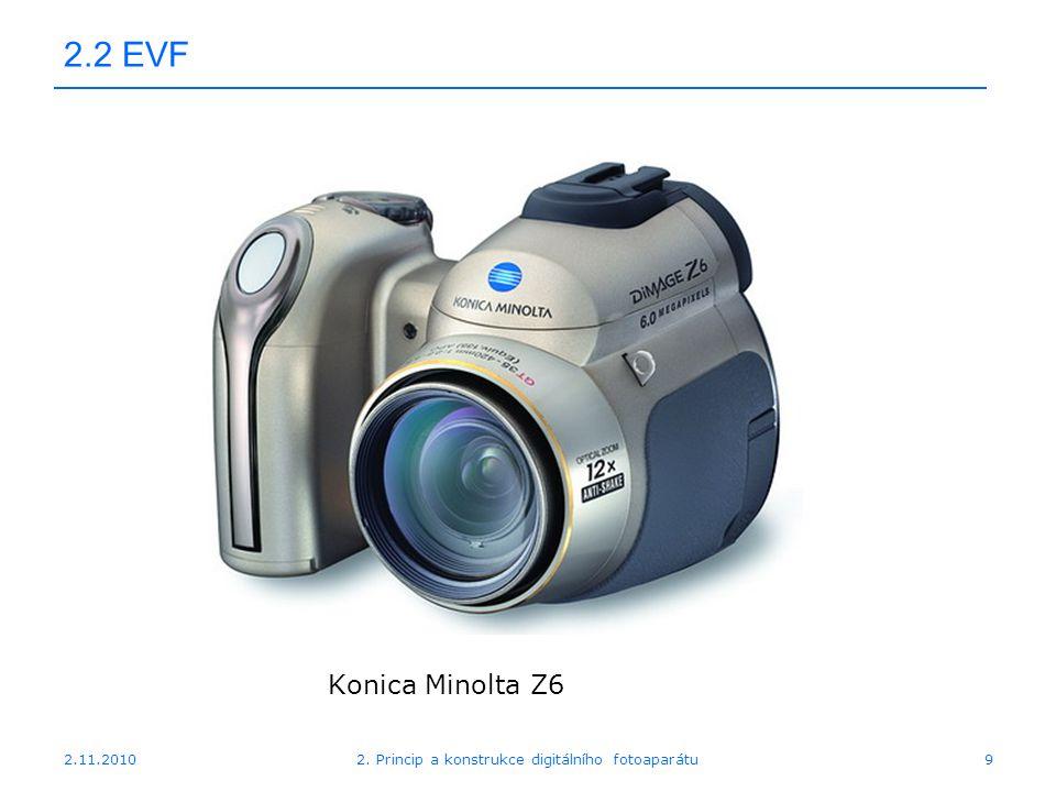 2.11.20102. Princip a konstrukce digitálního fotoaparátu9 2.2 EVF Konica Minolta Z6