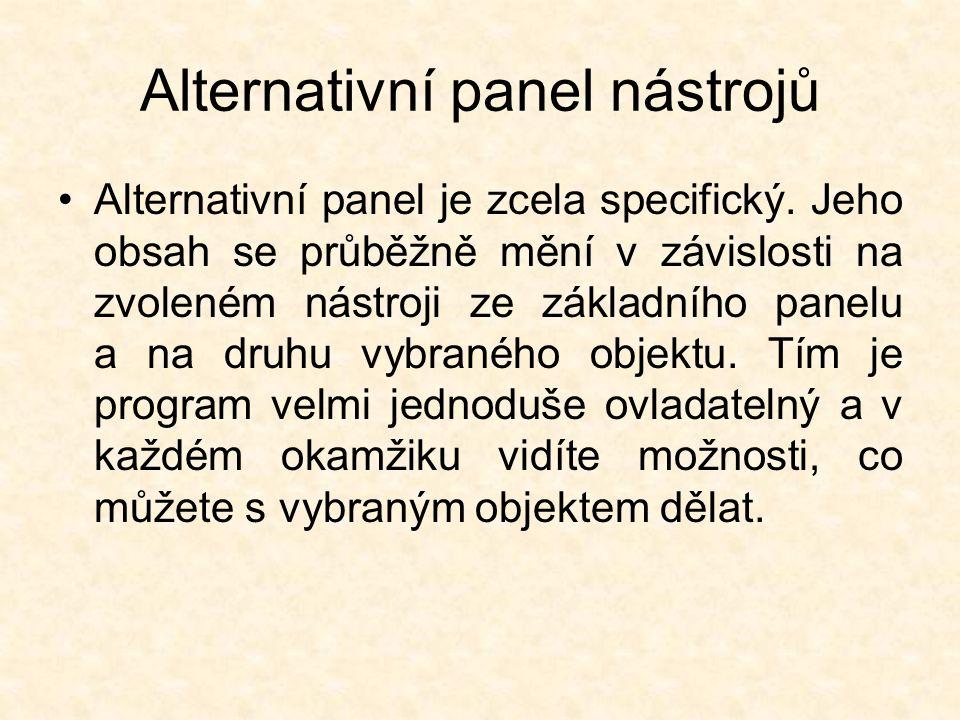 Alternativní panel nástrojů Alternativní panel je zcela specifický.