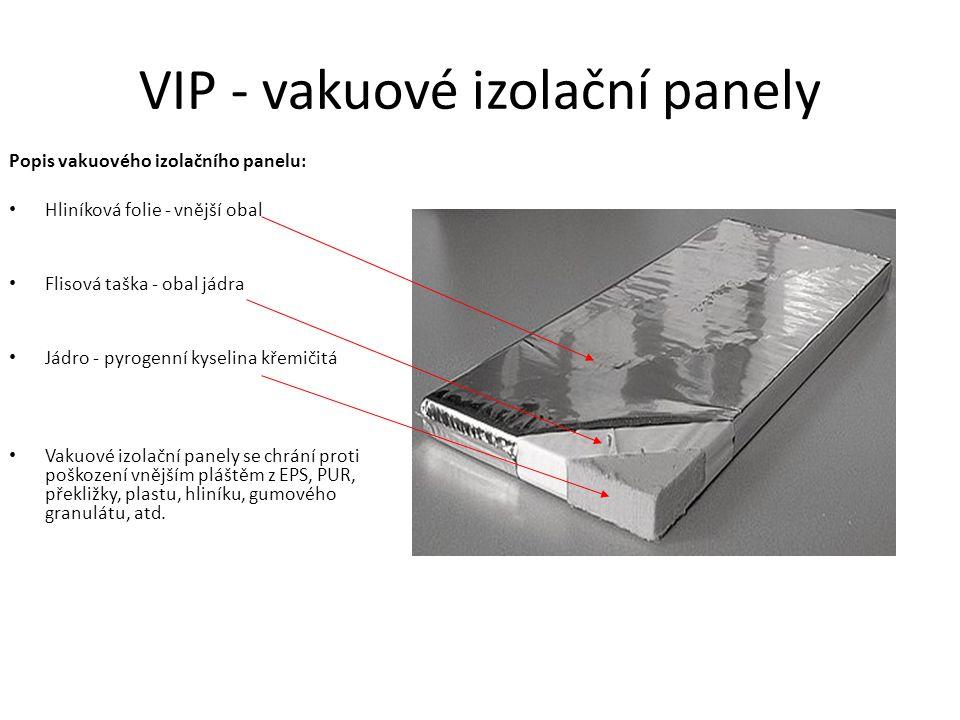 VIP - vakuové izolační panely Popis vakuového izolačního panelu: Hliníková folie - vnější obal Flisová taška - obal jádra Jádro - pyrogenní kyselina k