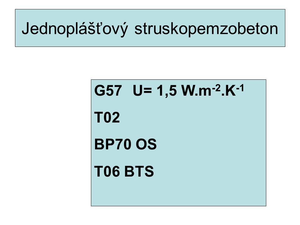 Jednoplášťový struskopemzobeton G57 U= 1,5 W.m -2.K -1 T02 BP70 OS T06 BTS