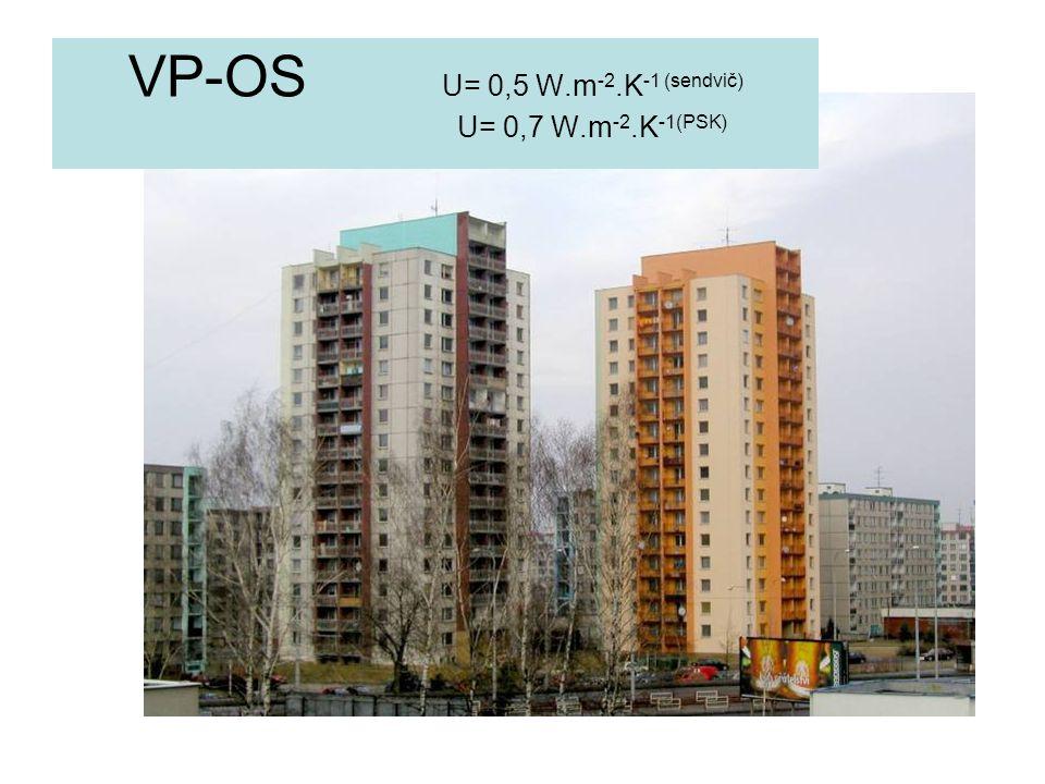 VP-OS U= 0,5 W.m -2.K -1 (sendvič) U= 0,7 W.m -2.K -1(PSK)