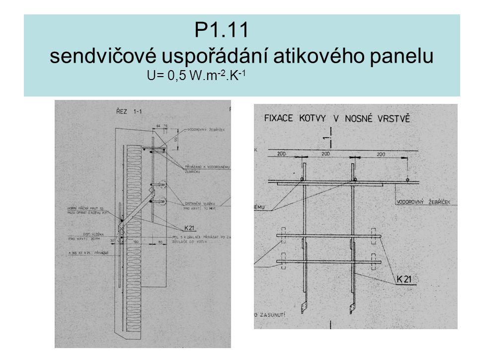 P1.11 sendvičové uspořádání atikového panelu U= 0,5 W.m -2.K -1
