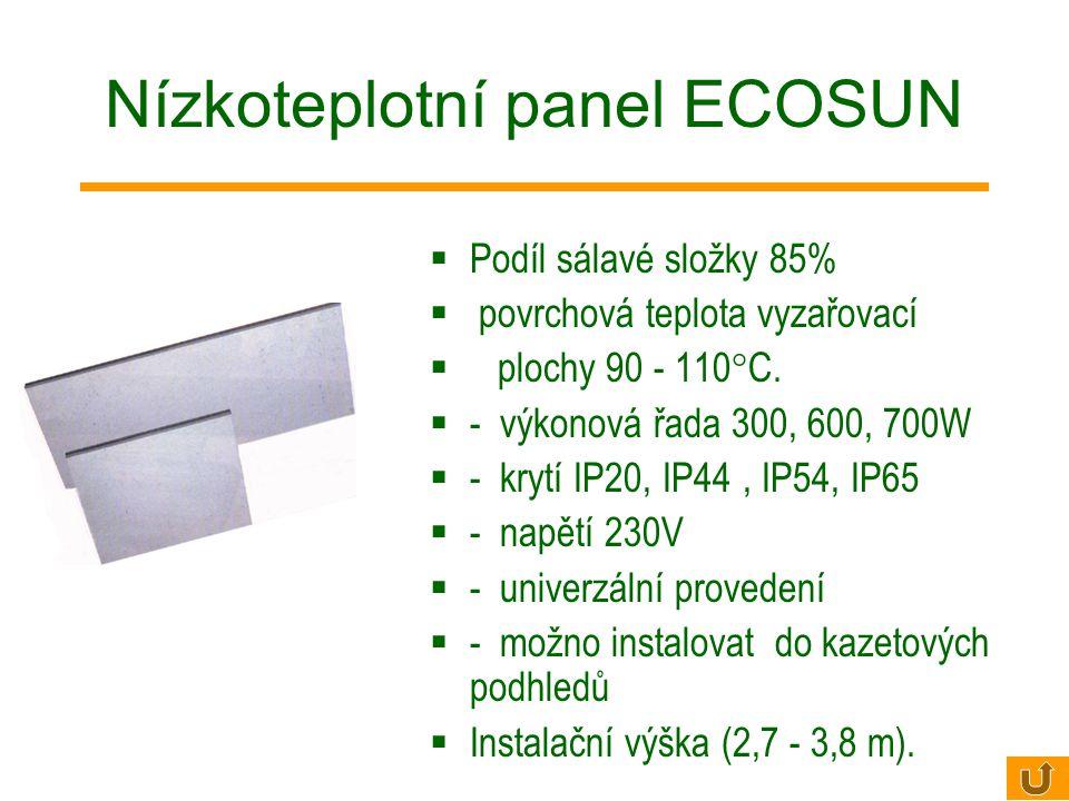 ECOSUN S – technologie procesu Topný prvek (hliníková lamela se zalisovanou topnou tyčí) SILICATING – speciální povrch zvyšující vyzařování tepelné en